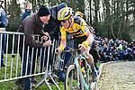 Mike Teunissen (NED) Team Jumbo-Visma climbs the Muur van Geraardsbergen during Omloop Het Nieuwsblad 2020, Belgium. 29th February 2020.<br /> Picture: Serge Waldbillig/cyclingpix.lu | Cyclefile<br /> <br /> All photos usage must carry mandatory copyright credit (© Cyclefile | cyclingpix.lu/Serge Waldbillig)