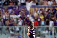 Dusan Vlahovic of Fiorentina celebrates scoring goal of 1-1 <br /> Firenze 19/08/2019 Stadio Artemio Franchi <br /> Football Italy Cup 2019/2020 <br /> ACF Fiorentina - Monza  <br /> Foto Andrea Staccioli / Insidefoto