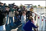 1 FEBRUARY 2003 --  Kennedy Space Center --  The Space Shuttle Columbia  crashed upon trying to re-enter the earth's upper atmosphere killing all seven astronauts, at the astronauts memorial at the Kennedy Space center visitor center. .©2003 Andrew Kaufman