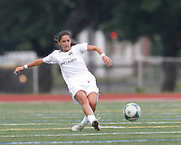 Boston Aztec midfielder Alexa St. Martin (20) passes the ball.  In a Women's Premier Soccer League (WPSL) match, Boston Aztec (white) defeated Seacoast United Phantoms (blue), 3-0, at North Reading High School Stadium on Arthur J. Kenney Athletic Field on on June 25, 2013.
