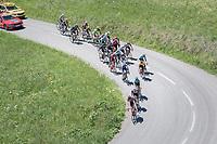 thinned down peloton up the Colombière<br /> <br /> 69th Critérium du Dauphiné 2017<br /> Stage 8: Albertville > Plateau de Solaison (115km)