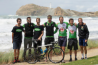 Members of Oliver's Real Food Racing Team pose after the NZ Cycle Classic stage one of the UCI Oceania Tour in Wairarapa, New Zealand on Sunday, 22 January 2017. Photo: Hagen Hopkins / lintottphoto.co.nz