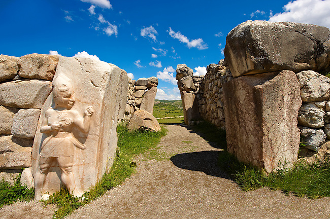 Photo of the Hittite releif sculpture on the Kings gate to the Hittite capital Hattusa 12
