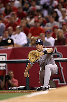 Mark Teixeira #25 of the New York Yankees waits for a throw during a game against the Los Angeles Angels at Angel Stadium on May 29, 2012 in Anaheim,California. Los Angeles defeated New York 5-1.(Larry Goren/Four Seam Images)