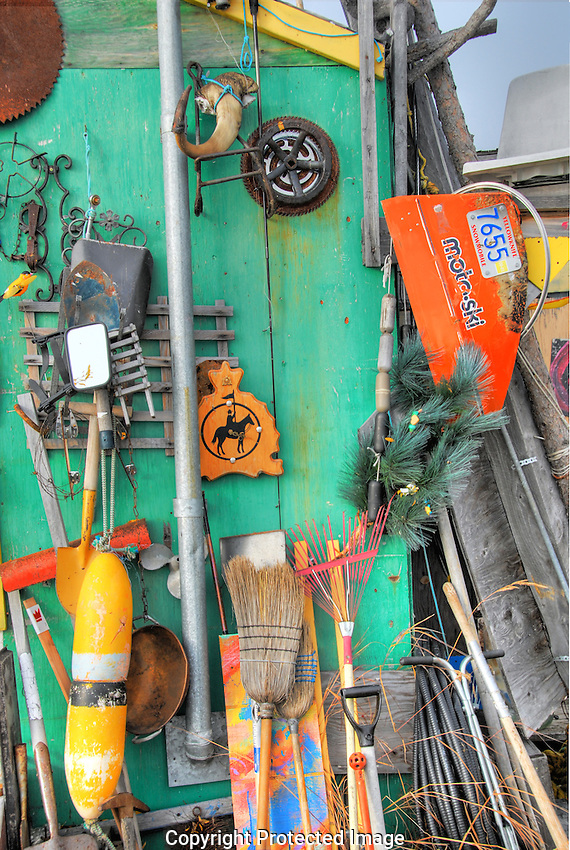 various artefacts on an Old Town shed