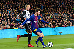 Lionel Messi of FC Barcelona (R) in action against Rodrigo Moreno of Valencia CF (L) during the Copa Del Rey 2017-18 match between FC Barcelona and Valencia CF at Camp Nou Stadium on 01 February 2018 in Barcelona, Spain. Photo by Vicens Gimenez / Power Sport Images