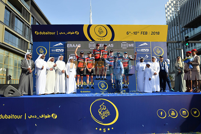 BMC Racing Team take the team prize at the end of Stage 5 The Meraas Stage final stage of the Dubai Tour 2018 the Dubai Tour's 5th edition, running 132km from Skydive Dubai to City Walk, Dubai, United Arab Emirates. 10th February 2018.<br /> Picture: LaPresse/Massimo Paolone   Cyclefile<br /> <br /> <br /> All photos usage must carry mandatory copyright credit (© Cyclefile   LaPresse/Massimo Paolone)