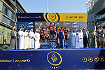 BMC Racing Team take the team prize at the end of Stage 5 The Meraas Stage final stage of the Dubai Tour 2018 the Dubai Tour's 5th edition, running 132km from Skydive Dubai to City Walk, Dubai, United Arab Emirates. 10th February 2018.<br /> Picture: LaPresse/Massimo Paolone | Cyclefile<br /> <br /> <br /> All photos usage must carry mandatory copyright credit (© Cyclefile | LaPresse/Massimo Paolone)