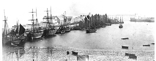 Howth Harbour in the 1860s, back to being a fishing port after the Mailboats had been transferred to Kingstown