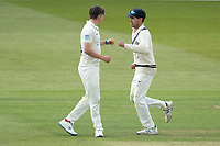 Max Holden congratulates Ethan Bamber, Middlesex CCC on the wicket of Paine during Middlesex CCC vs Gloucestershire CCC, LV Insurance County Championship Group 2 Cricket at Lord's Cricket Ground on 7th May 2021