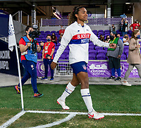 ORLANDO, FL - JANUARY 22: Catarina Macario #29 of the USWNT walks onto the field before a game between Colombia and USWNT at Exploria stadium on January 22, 2021 in Orlando, Florida.