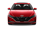 Car photography straight front view of a 2021 Hyundai Elantra SEL 4 Door Sedan Front View