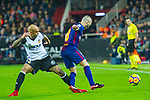 Andres Iniesta Lujan of FC Barcelona competes for the ball with Simone Zaza of Valencia CF during the La Liga 2017-18 match between Valencia CF and FC Barcelona at Estadio de Mestalla on November 26 2017 in Valencia, Spain. Photo by Maria Jose Segovia Carmona / Power Sport Images