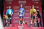 Julian Alaphilippe (FRA) Deceuninck-Quick Step wins Strade Bianche 2019 with Jakob Fuglsang (DEN) Astana Pro Team 2nd place and Wout Van Aert (BEL) Team Jumbo-Visma in 3rd place, running 184km from Siena to Siena, held over the white gravel roads of Tuscany, Italy. 9th March 2019.<br /> Picture: LaPresse/Gian Matteo D'Alberto   Cyclefile<br /> <br /> <br /> All photos usage must carry mandatory copyright credit (© Cyclefile   LaPresse/Gian Matteo D'Alberto)