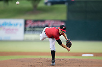 Kannapolis Intimidators starting pitcher Dylan Cease (2) delivers a pitch to the plate against the Columbia Fireflies at Kannapolis Intimidators Stadium on July 23, 2017 in Kannapolis, North Carolina.  The Fireflies defeated the Intimidators 3-1.  (Brian Westerholt/Four Seam Images)
