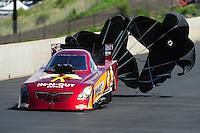 Jul. 23, 2011; Morrison, CO, USA: NHRA funny car driver Melanie Troxel during qualifying for the Mile High Nationals at Bandimere Speedway. Mandatory Credit: Mark J. Rebilas-