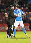 Hearts v St Johnstone…05.11.16  Tynecastle   SPFL<br />Fourth official Nick Walsh separates Richie Foster and Robbie Muirhead<br />Picture by Graeme Hart.<br />Copyright Perthshire Picture Agency<br />Tel: 01738 623350  Mobile: 07990 594431