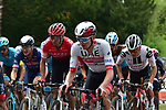 UAE Team Emirates with Tadej Pogacar (SLO) UAE Team Emirates on the front during La Fleche Wallonne 2020, running 202km from Herve to Mur de Huy, Belgium. 30th September 2020.<br /> Picture: ASO/Gautier Demouveaux   Cyclefile<br /> All photos usage must carry mandatory copyright credit (© Cyclefile   ASO/Gautier Demouveaux)
