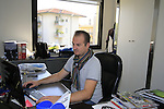Max sales staff hard at work in his office Santini Factory, Lallio, Italy. 30th September 2015.<br /> Picture: Eoin Clarke | Newsfile