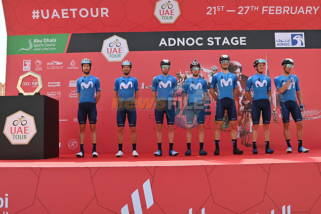 Movistar Team at sign on before the start of Stage 1 of the 2021 UAE Tour the ADNOC Stage running 176km from Al Dhafra Castle to Al Mirfa, Abu Dhabi, UAE. 21st February 2021.  <br /> Picture: LaPresse/Gian Mattia D'Alberto | Cyclefile<br /> <br /> All photos usage must carry mandatory copyright credit (© Cyclefile | LaPresse/Gian Mattia D'Alberto)