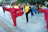 China. Province of Zhejiang. Hangzhou. Early morning, a group of young and old woman practise the traditional martial art's exercices of Tai Chi.© 2004 Didier Ruef