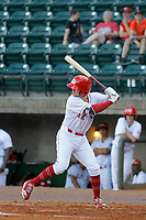Greeneville Reds designated hitter Cash Case (12) at bat during a game against the Bristol Pirates at Pioneer Field on June 20, 2018 in Greeneville, Tennessee. Bristol defeated Greeneville 11-0. (Robert Gurganus/Four Seam Images)