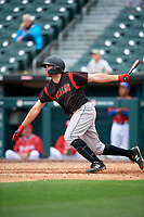 Indianapolis Indians Eric Wood (14) at bat during an International League game against the Buffalo Bisons on June 20, 2019 at Sahlen Field in Buffalo, New York.  Buffalo defeated Indianapolis 11-8  (Mike Janes/Four Seam Images)