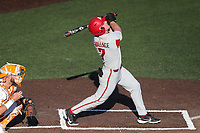 Arkansas Razorbacks right fielder Cayden Wallace (7) at bat against the Tennessee Volunteers on May 14, 2021, on Robert M. Lindsay Field at Lindsey Nelson Stadium in Knoxville, Tennessee. (Danny Parker/Four Seam Images)