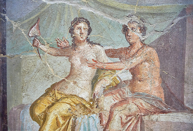 Mars caressing Venus  a Roman erotic fresco painting from Pompeii 1st cent AD , from the Casa del Meleagro, inv no 9250 , Secret Museum or Secret Cabinet, Naples National Archaeological Museum