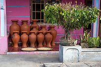 Yogyakarta, Java, Indonesia.  Pots on a Private Residence Front Porch.