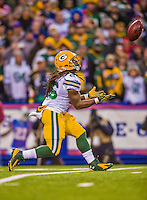 14 December 2014: Green Bay Packers running back DuJuan Harris pulls in a 55-yard punt for an 8-yard return in the fourth quarter against the Buffalo Bills at Ralph Wilson Stadium in Orchard Park, NY. The Bills defeated the Packers 21-13, snapping the Packers' 5-game winning streak and keeping the Bills' 2014 playoff hopes alive. Mandatory Credit: Ed Wolfstein Photo *** RAW (NEF) Image File Available ***
