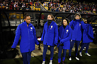 COLUMBUS, OH - NOVEMBER 07: Lynn Williams #27, Andi Sullivan #25, Mallory Pugh #2 and Samantha Mewis #3 of the United States bench during a game between Sweden and USWNT at MAPFRE Stadium on November 07, 2019 in Columbus, Ohio.
