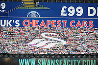A banner with Swansea City fans on display during the Sky Bet Championship match between Swansea City and Luton Town at the Liberty Stadium in Swansea, Wales, UK. Saturday 27 June 2020.