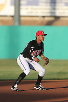 Luis Marte (16) of the High Desert Mavericks in the field during a game against the Inland Empire 66ers at Mavericks Stadium on May 6, 2015 in Adelanto, California. Inland Empire defeated High Desert, 10-4. (Larry Goren/Four Seam Images)