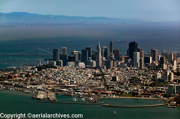 aerial photograph of Aquatic Park, Columbus Avenue and the San Francisco skyline, San Francisco, California