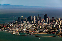 aerial photograph of Aquatic Park, Columbus Avenue and the San Francisco skyline, San Francisco, California