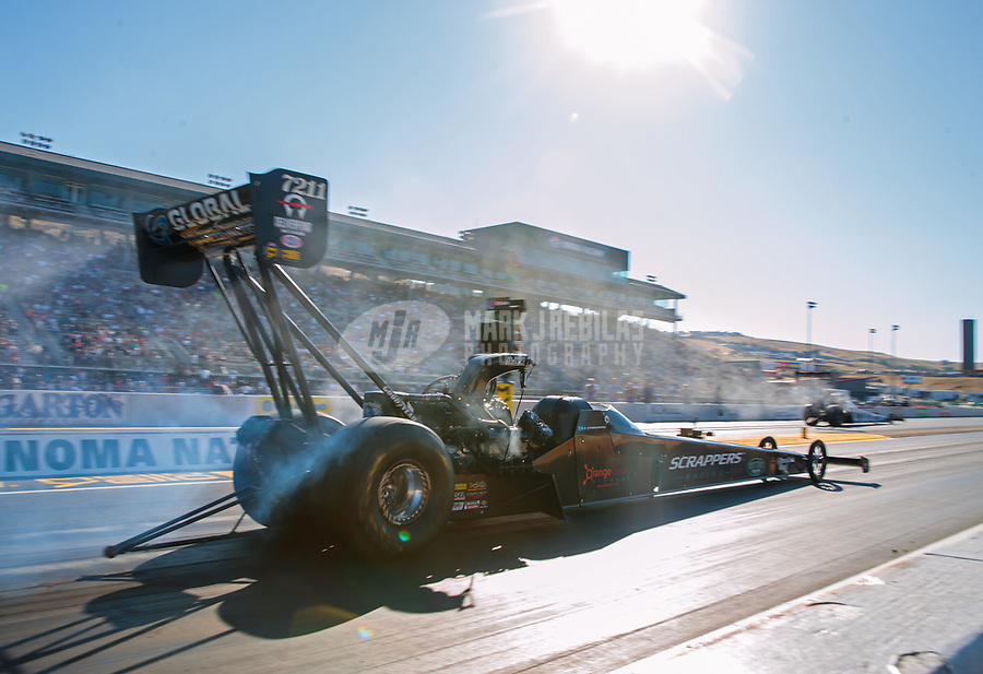 Jul 27, 2019; Sonoma, CA, USA; NHRA top fuel driver Mike Salinas during qualifying for the Sonoma Nationals at Sonoma Raceway. Mandatory Credit: Mark J. Rebilas-USA TODAY Sports