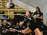 Ella Aprea (15) of Bentonville hits ball on Thursday, Oct.  7, 2021, during play at Tiger Arena in Bentonville. Visit nwaonline.com/211008Daily/ for today's photo gallery.<br /> (Special to the NWA Democrat-Gazette/David Beach)