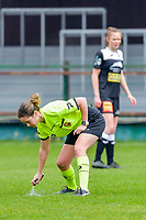 referee Irmgard Van Meirevenne using vanishing spray during a female soccer game between Eendracht Aalst and OHL on the 13 th matchday of the 2020 - 2021 season of Belgian Scooore Womens Super League , Saturday 6 th of February 2021  in Aalst , Belgium . PHOTO SPORTPIX.BE | SPP | STIJN AUDOOREN