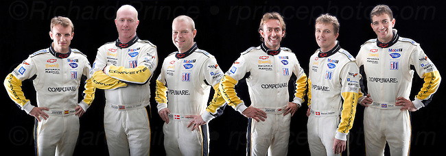 Corvette Racing, American Le Mans Series, Mobil 1 12 Hours of Sebring, Sebring International Raceway, Sebring, Florida USA, March 21, 2009, C6.R #3 drivers Antonio Garcia, Johnny O'Connell, and Jan Magnussen, C6.R #4 drivers Olivier Betetta, Marcel Fassler, and Oliver Gavin. (Richard Prince/GM Racing Photo). Media Use Only.