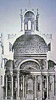 Cross section of the Church of San Carlo, ca 1640, designed by Francesco Borromini , Rome, Italy.