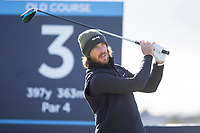 3rd October 2021; The Old Course, St Andrews Links, Fife, Scotland; European Tour, Alfred Dunhill Links Championship, Fourth round; Tommy Fleetwood of England tees off on the third hole during the final round of the Alfred Dunhill Links Championship on the Old Course, St Andrews