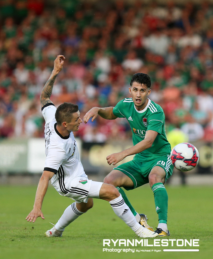 Shane Griffin of Cork City in action against Krzysztof Mączyński of Legia Warsaw during the UEFA Champions League First Qualifying Round First Leg between Cork City and Legia Warsaw on Tuesday 10th July 2018 at Turners Cross, Cork. Photo By Michael P Ryan