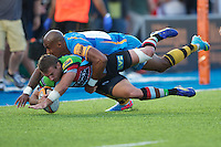 20130803 Copyright onEdition 2013 ©<br />Free for editorial use image, please credit: onEdition.<br /><br />Tom Varndell of London Wasps 7s tackles Charlie Walker of Harlequins 7s during the J.P. Morgan Asset Management Premiership Rugby 7s Series.<br /><br />The J.P. Morgan Asset Management Premiership Rugby 7s Series kicks off for the fourth season on Thursday 1st August with Pool A at Kingsholm, Gloucester with Pool B being played at Franklin's Gardens, Northampton on Friday 2nd August, Pool C at Allianz Park, Saracens home ground, on Saturday 3rd August and the Final being played at The Recreation Ground, Bath on Friday 9th August. The innovative tournament, which involves all 12 Premiership Rugby clubs, offers a fantastic platform for some of the country's finest young athletes to be exposed to the excitement, pressures and skills required to compete at an elite level.<br /><br />The 12 Premiership Rugby clubs are divided into three groups for the tournament, with the winner and runner up of each regional event going through to the Final. There are six games each evening, with each match consisting of two 7 minute halves with a 2 minute break at half time.<br /><br />For additional images please go to: http://www.w-w-i.com/jp_morgan_premiership_sevens/<br /><br />For press contacts contact: Beth Begg at brandRapport on D: +44 (0)20 7932 5813 M: +44 (0)7900 88231 E: BBegg@brand-rapport.com<br /><br />If you require a higher resolution image or you have any other onEdition photographic enquiries, please contact onEdition on 0845 900 2 900 or email info@onEdition.com<br />This image is copyright the onEdition 2013©.<br /><br />This image has been supplied by onEdition and must be credited onEdition. The author is asserting his full Moral rights in relation to the publication of this image. Rights for onward transmission of any image or file is not granted or implied. Changing or deleting Copyright information is illegal as specified in the Copyright, Design and Pa