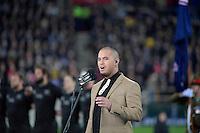 Singer Stan Walker during the All Blacks v Wallabies. The Rugby Championship & Bledisloe Cup at Westpac Stadium, Wellington, New Zealand on Saturday 27 August 2016.<br /> Photo by Masanori Udagawa. <br /> www.photowellington.photoshelter.com.