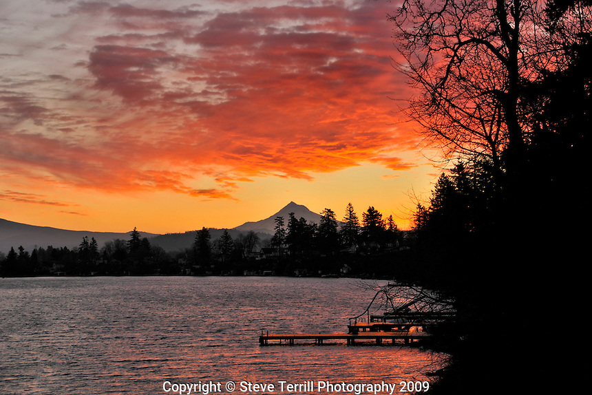 Blue Lake and Mt Hood at sunrise Oregon