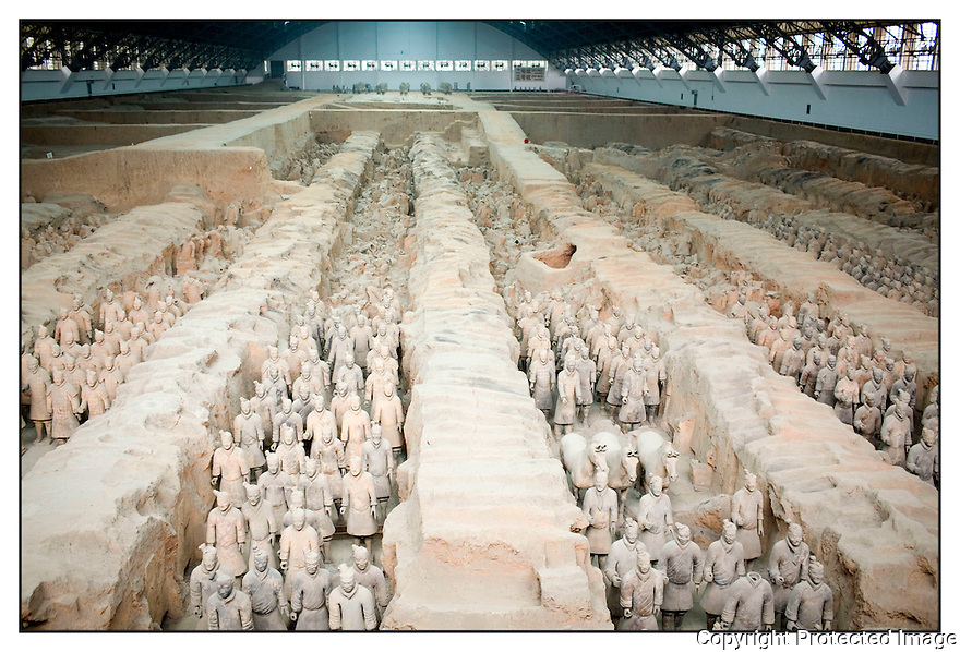 Chine<br /> X'ian<br /> Mausolée de l'empereur Qin<br /> Armée de terre cuite