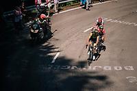 race leaders Robert Gesink (NED/LottoNL-Jumbo), Domenico Pozzovivo (ITA/Bahrain-Merida) & Bauke Mollema  (NED/Trek-Segafredo) up the final climb of the day (in Spain!): the Col du Portillon (Cat1/1292m)<br /> <br /> Stage 16: Carcassonne > Bagnères-de-Luchon (218km)<br /> <br /> 105th Tour de France 2018<br /> ©kramon