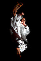: Mexican karate athlete Xhunashi Caballero poses for a photo during a photo session at CNAR on September 6, 2011 in Mexico City, Mexico.