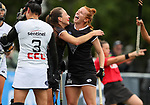 Deanna Ritchie (L) and Alia Jaques of North celebrate a goal. Women's North v South hockey match, St Pauls Collegiate, Hamilton, New Zealand. Sunday 18 April 2021 Photo: Simon Watts/www.bwmedia.co.nz